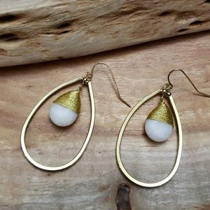 Jewelry - Boho Gold metal and Crystal dangle hoop earrings